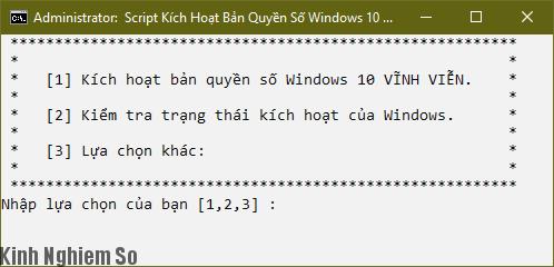 Cách Active Windows 10 lệnh Script kích hoạt vĩnh viễn hình 2