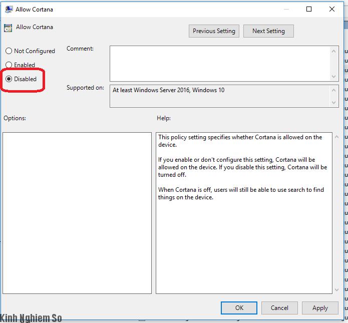 Thủ thuật tắt Cortana Windows vĩnh viễn cực đơn giản hình 6
