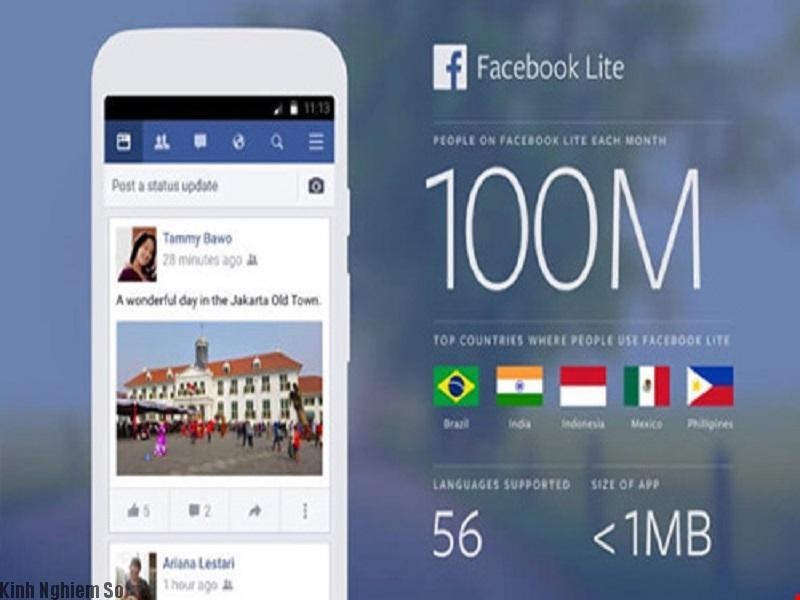 Facebook lite tốn ít dung lượng, sử dụng được nhiều dòng android cấu hình thấp