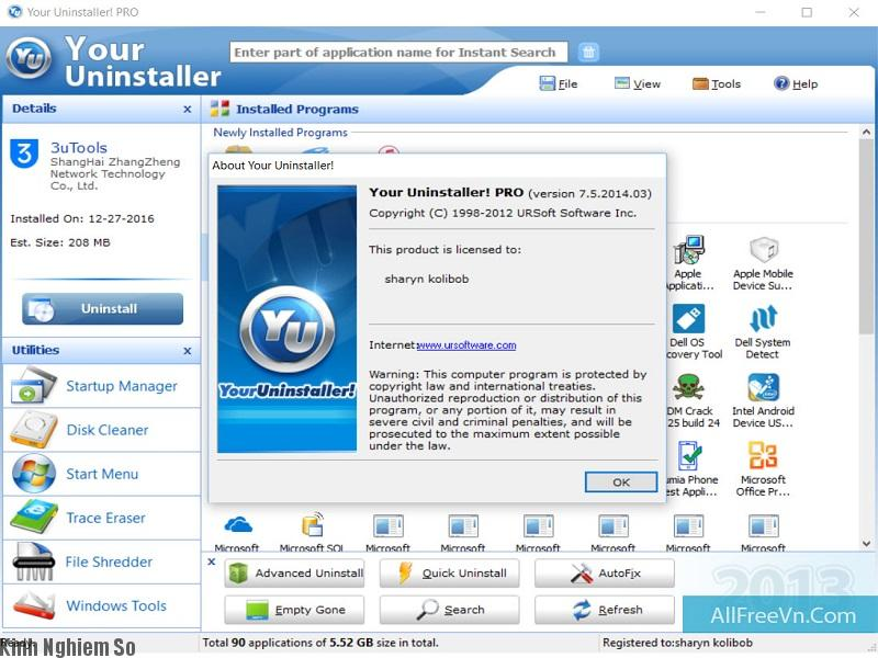 Phần mềm your uninstalle giúp bạn dỡ ứng dụng không dùng đến nhanh chóng