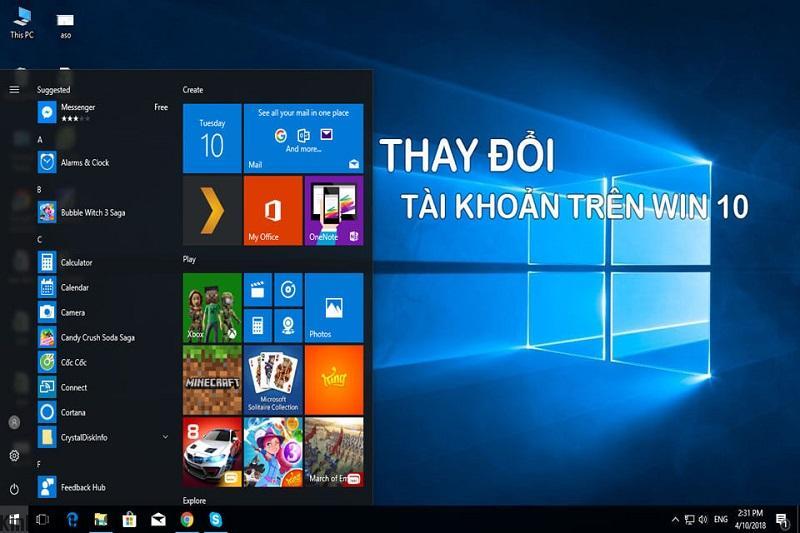 Thay đổi tài khoản mới trên Windows 10