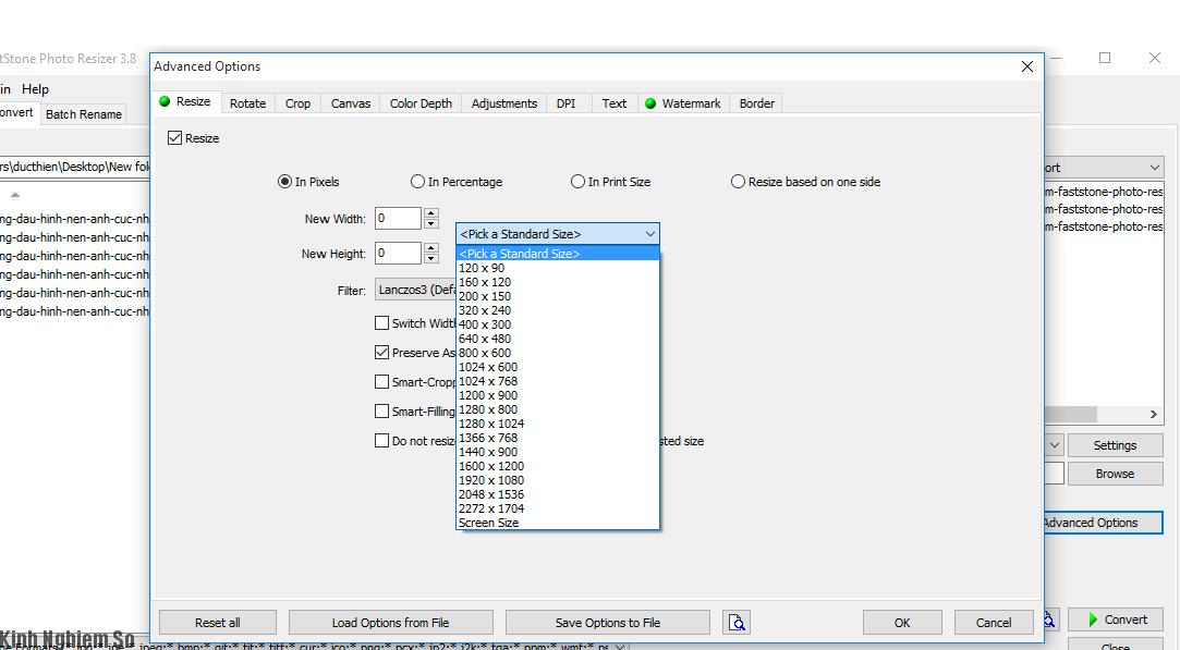 Đóng dấu hình và kích thước ảnh bằng phần mềm Faststone Photo Resizer ảnh 5