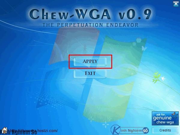 Giao diện Kích hoạt Windows 7 bằng Chew WGA đảm bảo thành công