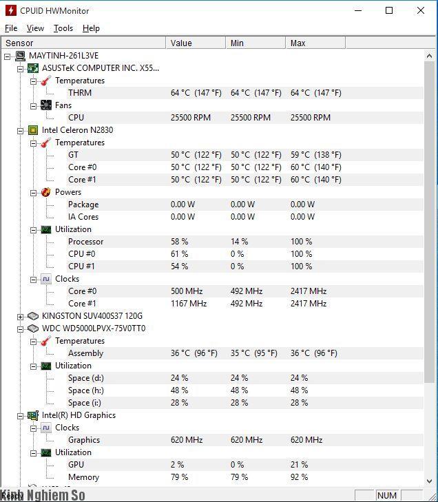 Giao diện phần mềm CPUID HWMonitor trên máy tính