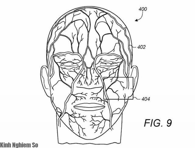 Hình minh họa theo dõi mạch máu trên khuôn mặt trong bằng sáng chế của Apple