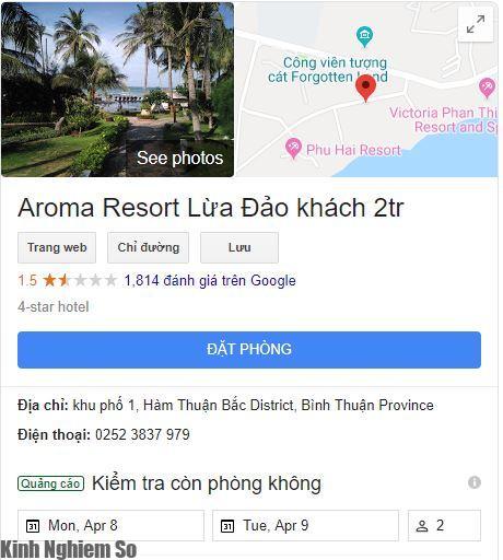 Google Maps Aroma Resort lừa đảo