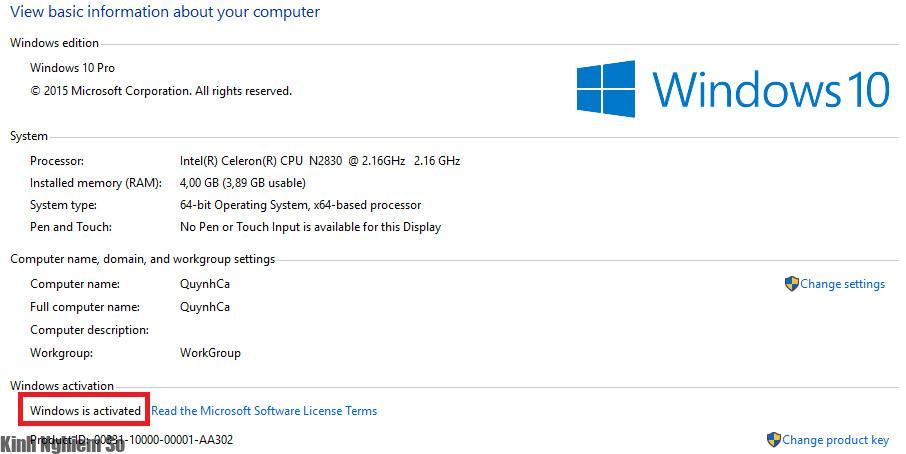 Kiểm tra Win bản quyền qua Windows activation