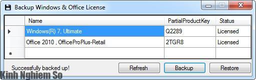 Sao lưu bản quyền Office, Windows