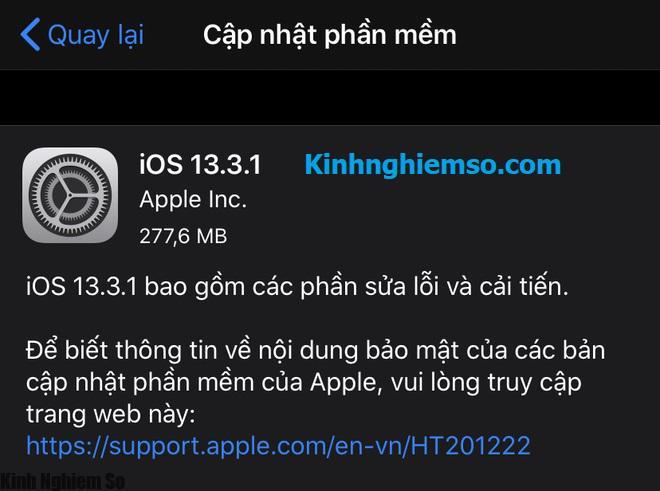 Cập nhật iOS 13.3.1 cho iPhone