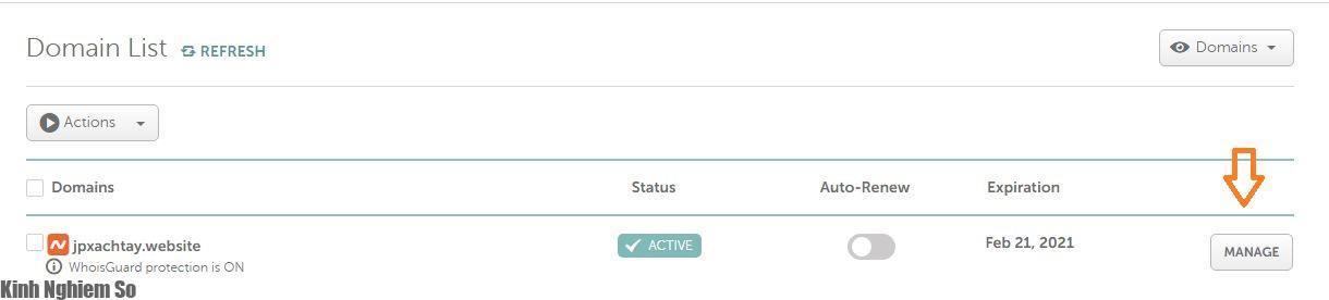 Chọn Domain để gắn tên miền về Hosting