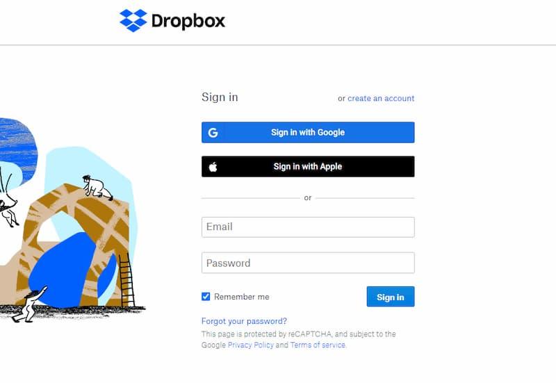 Đăng ký Dropbox