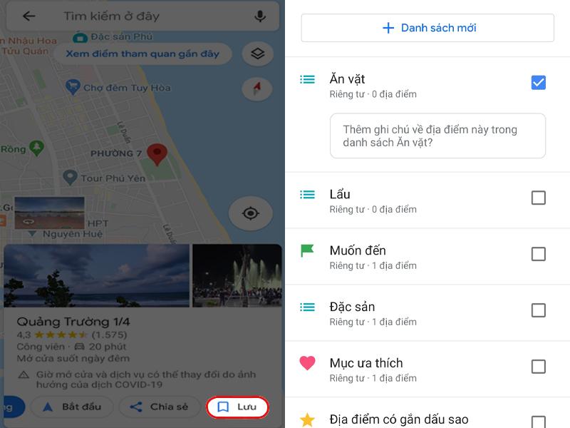 Mẹo lưu những đia điểm ăn uống của chính bạn bằng ứng dụng Google Maps