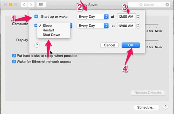 Hẹn giờ tắt Macbook Air