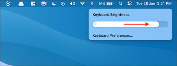 Kéo thanh trượt để tăng giảm độ sáng bàn phím Macbook