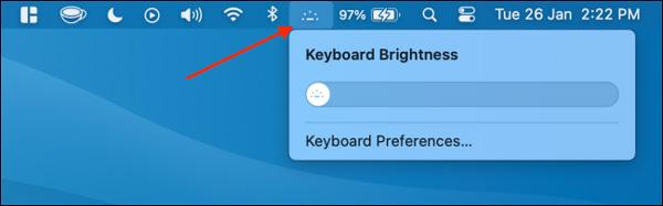 Phím tắt nhanh để chính độ sáng bàn phím Macbook