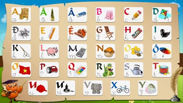 Bảng chữ cái tiếng Việt cho bé học đánh vần