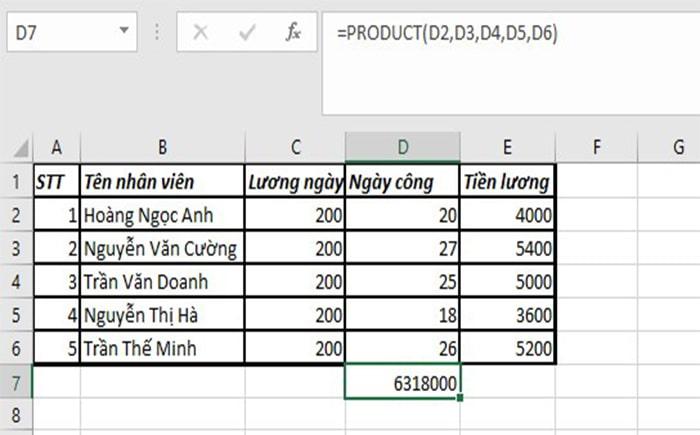 Tạo hàm nhân trong Excel