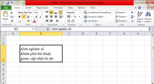 Cách xuống hàng trong Excel