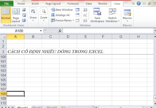 Cách giữ cố định nhiều dòng trong Excel