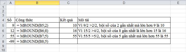 Cách làm tròn số trong Excel đến bội số