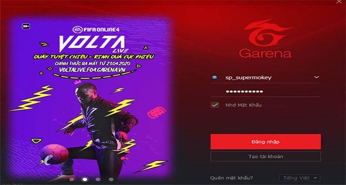 Đăng nhập Garena PC trên máy tính