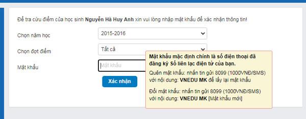 Nhập mật khẩu xác nhận tài khoản VnEdu