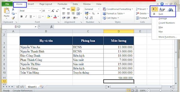 Cách tính tổng trong Excel nhanh nhất