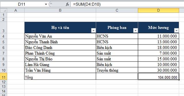 Sum - Hàm tính tổng trong Excel