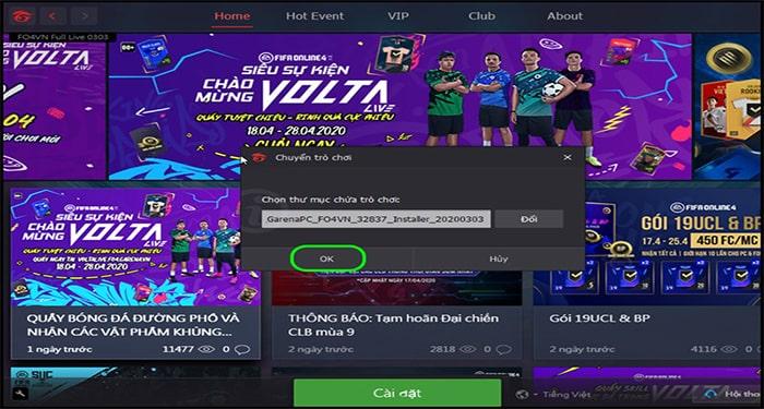 Chọn vào đường dẫn lưu file FIFA Online 4 vừa giải nén