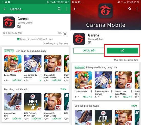 Cài đặt và mở Garena Mobile trên Android